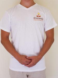 Sivananda férfii V nyakú póló fehér