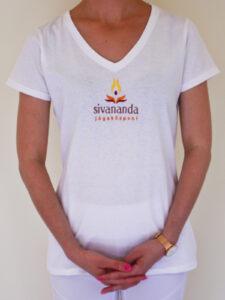 Sivananda női V nyakú póló fehér
